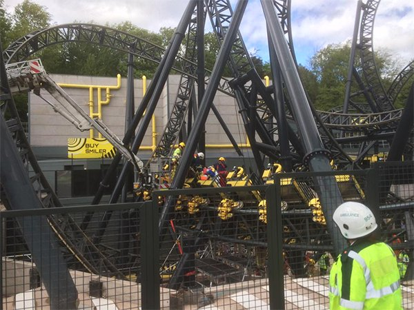 Smiler rollercoaster at Alton Towers, picture courtesy of @WMAS (West Midlands Ambulance Service)
