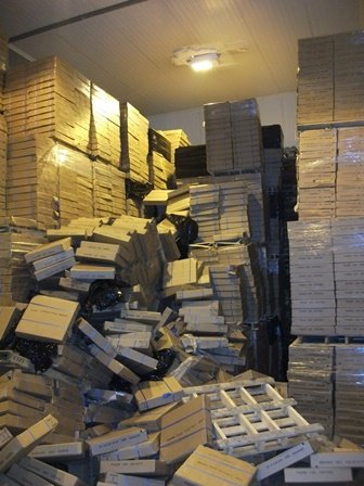 Fallen boxes at Interfish Limited