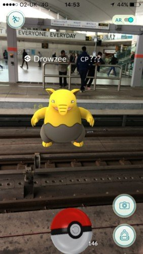 'Drowzee' a Pokemon character on the tracks at Stratford train station