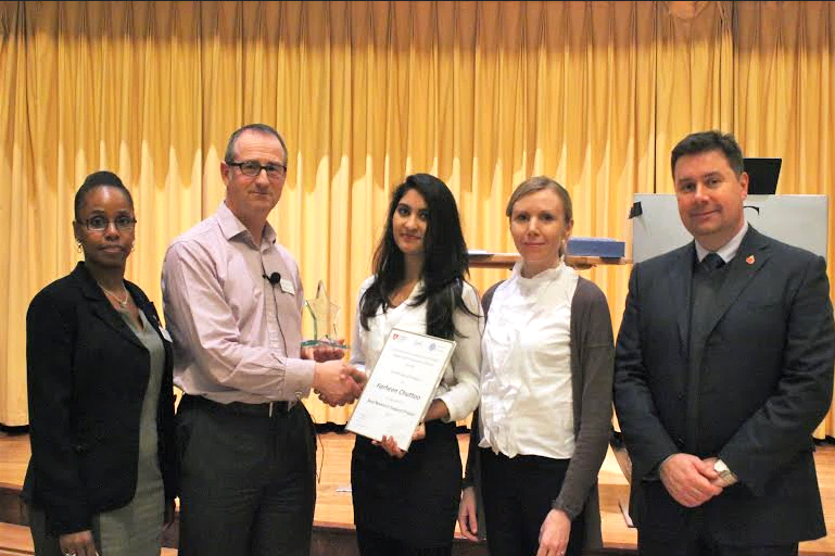 Anne Issacs (IOSH), Nigel Burgess (IOSH), Farheen Chuttoo (Winning PIPER researcher 2015), Maeve O'Loughlin (Middlesex University London) and Shaun Lundy (University of Greenwich)