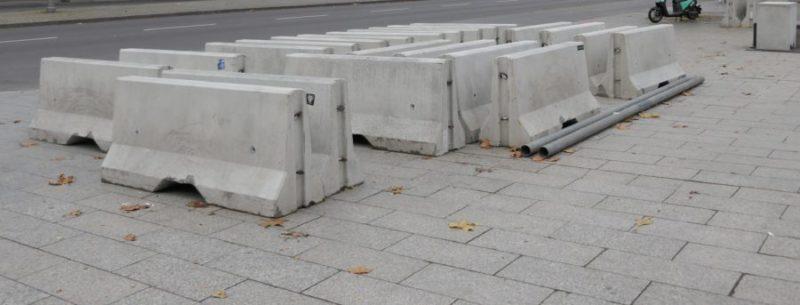 Concrete bollard on the Breitscheidplatz in Charlottenburg, Berlin