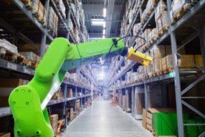 Robotic arm in warehouse