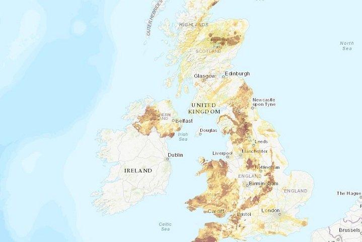 Map showing UK Radon levels