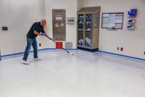 Recoating an operating theatre floor