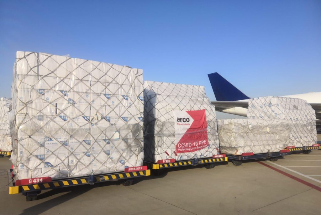 Arco secures supply of 140m masks - loading on to aircraft 1