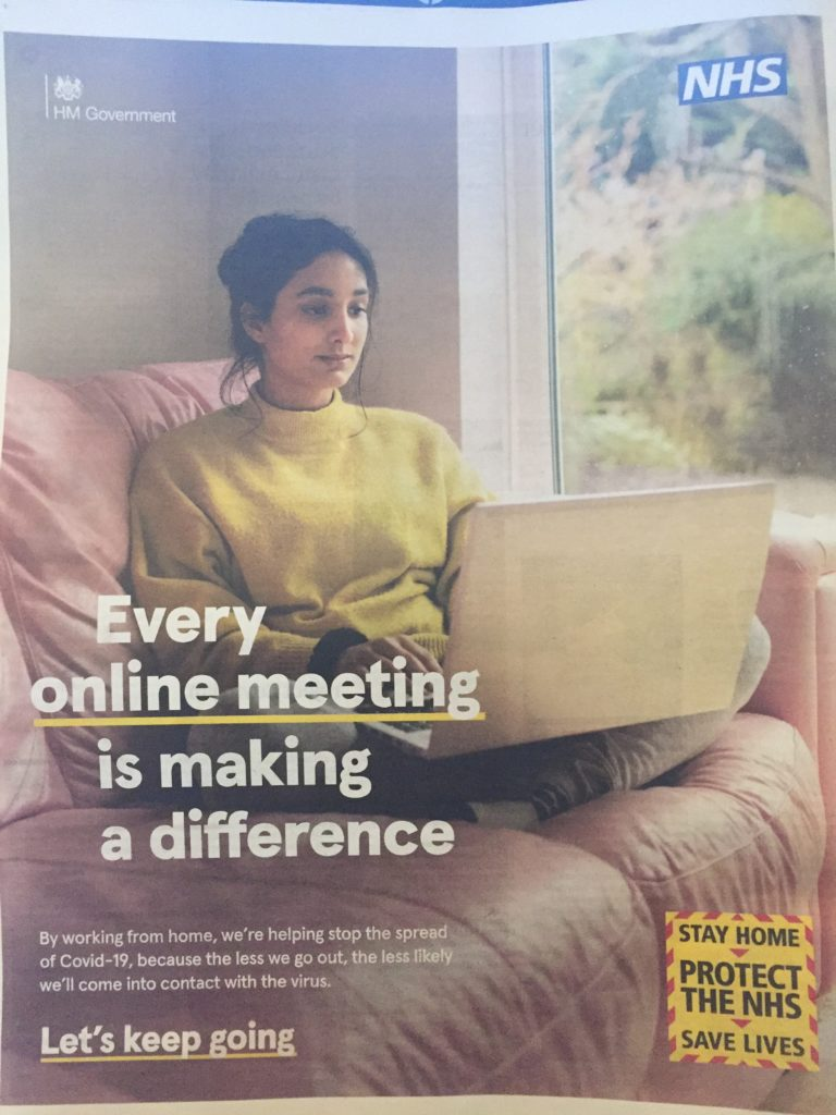 Govt advert on working from home - woman on sofa with laptop